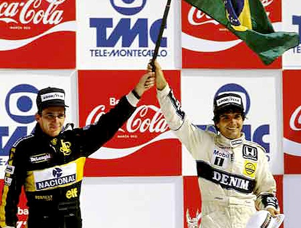 ayrton senna e nelson piquet p&#243;dio (Foto: divulga&#231;&#227;o / Site Oficial da Williams)