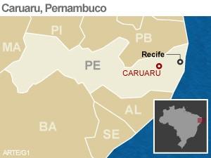 Mapa Caruaru, Pernambuco (Foto: Arte/G1)