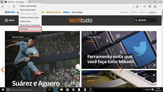 Microsoft Edge agora pode ter sites fixados para serem abertos junto com navegador (Foto: Reprodução/Elson de Souza)