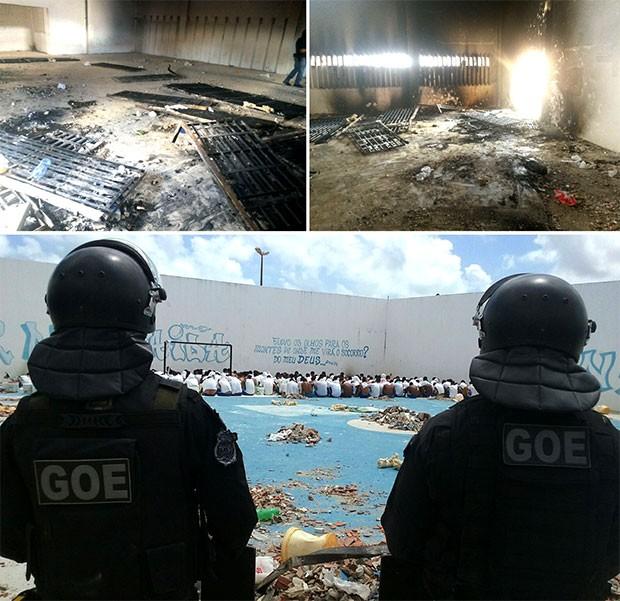 Em Alcaçuz, várias grades e portões foram arrancados das paredes; um dos pavilhões ficou completamente destruído (Foto: GOE/Grupo de Operações Especiais)