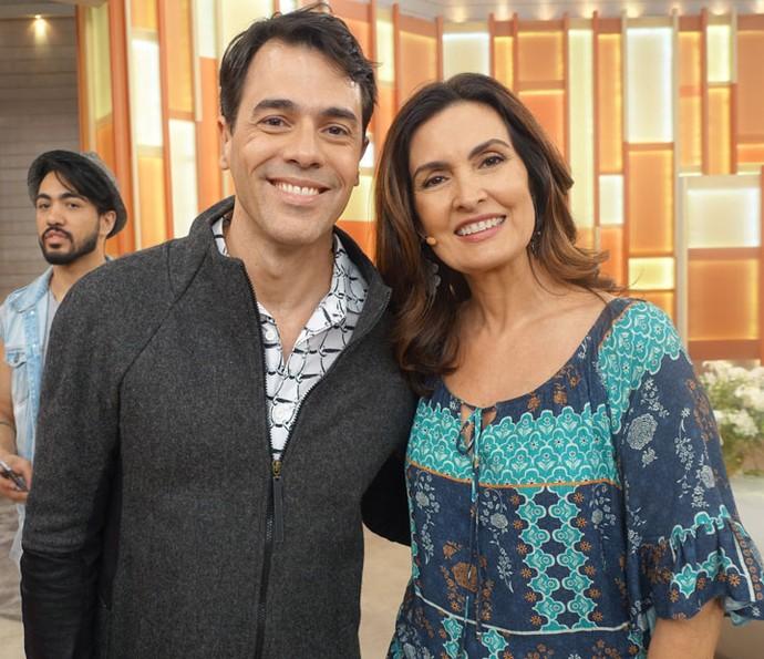 Fátima com o ator Claudio Lins (Foto: Juliana Hippertt/Gshow)