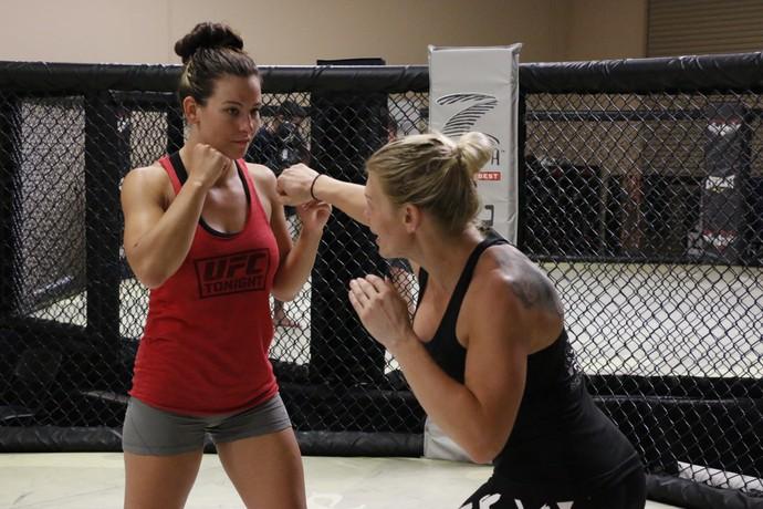 Miesha Tate treina com Duda Yankovich (Foto: Evelyn Rodrigues)