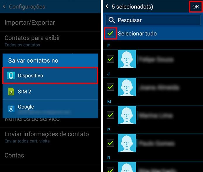 Obtenha a agenda do chip para a memória do celular (Foto: Reprodução/Paulo Alves)