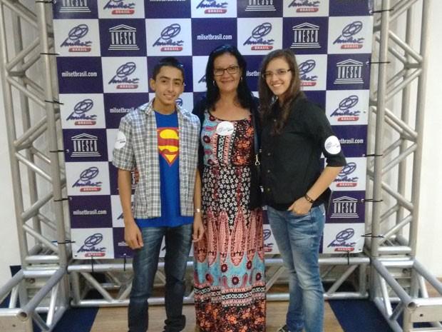 Marcelo Oliveira, Trerza Cristina e Poliana Mascarenhas na Milset, em Fortaleza (Foto: Divulgação / Arquivo Pessoal)