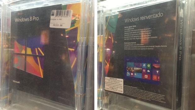 Caixa da versão de upgrade do Windows 8 Pro em loja de São Paulo (Foto: Daniela Braun/G1)