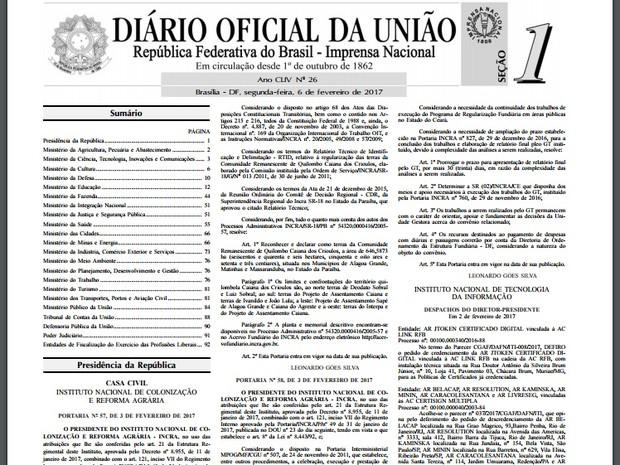 Diário Oficial da União (Foto: Reprodução / Diário Oficial da União)