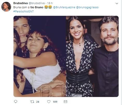Fs resgatam foto antiga de Bruno Gagliasso e Bruna Marquezine (Foto: Reproduo Twitter)