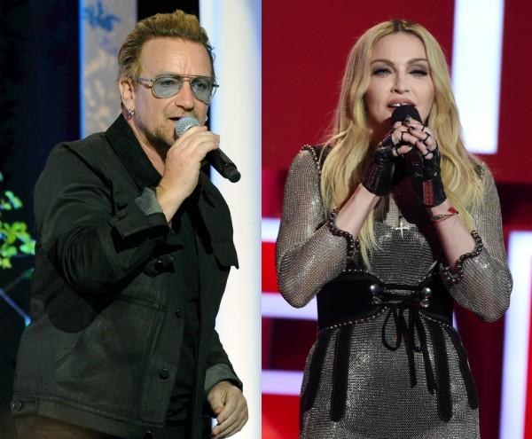 Os músicos Bono Vox e Madonna (Foto: Getty Images)