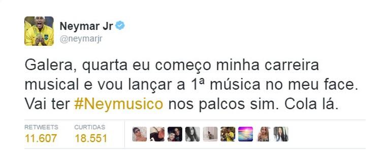 Neymar divulgou projeto musical nas redes sociais (Foto: Reprodução Internet)