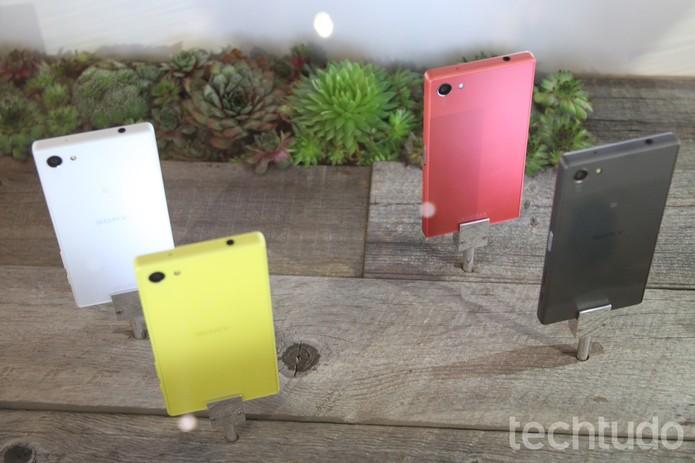 Opções de cor da linha Xperia Z5 (Foto: Fabricio Vitorino/TechTudo)