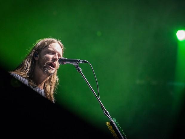 James Valentine, guitarrista do Maroon 5, durante show da banda no Allianz Parque, em São Paulo (Foto: Fábio Tito/G1)