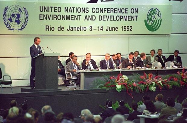 Conferência das Nações Unidas sobre Meio Ambiente e Desenvolvimento, Eco 92 (Foto: Luciana Whitaker/Folhapress)