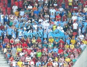 torcida uruguai arena pernambuco (Foto: Edgard Maciel)