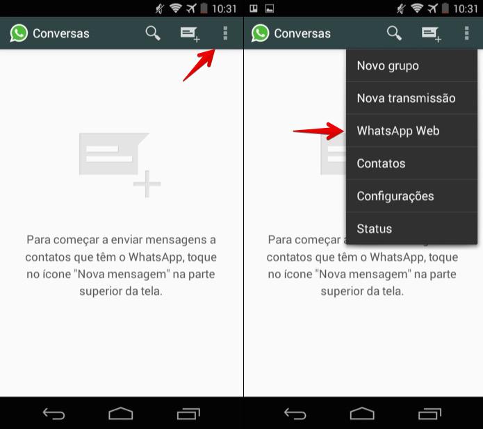 Abra o WhatsApp Web no celular (Foto: Reprodução/Helito Bijora)