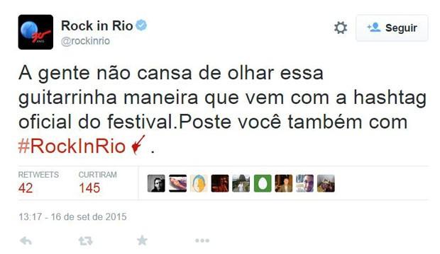 Twitter criou emoji especial para o Rock in Rio; basta escrever a hashtag #rockinrio para aparecer a imagem da guitarra vermelha, símbolo do festival. (Foto: Divulgação/Twitter)