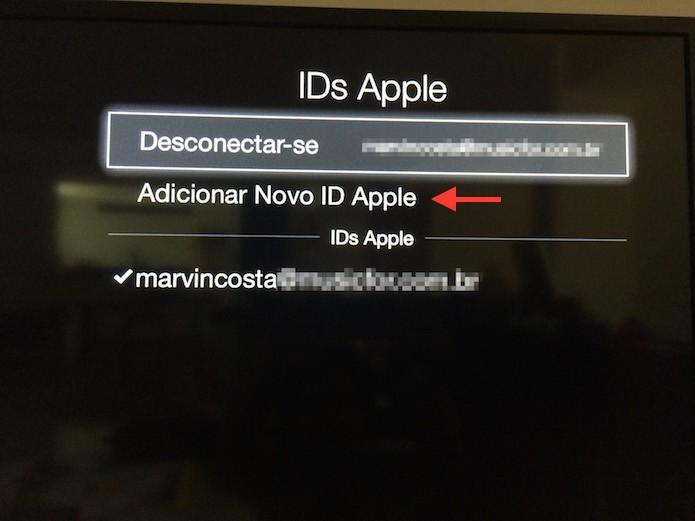 Iniciando o processo para vincular uma nova ID da Apple na Apple TV (Foto: Reprodução/Marvin Costa)
