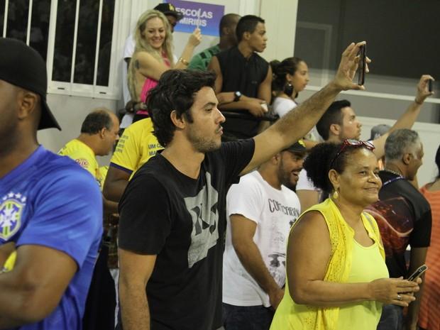 Guilherme Duarte em ensaio técnico da Unidos da Tijuca na Marquês de Sapucaí, no Centro do Rio (Foto: Anderson Borde/ Ag. News)