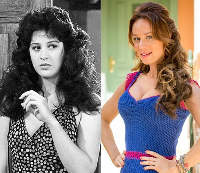 Claudia Raia deu vida a Tancinha em 'Sassaricando', e Mariana Ximenes faz releitura da personagem em 'Haja Coração' (Foto: Geraldo Modesto/Memória Globo / Fabiano Battaglin/Gshow)