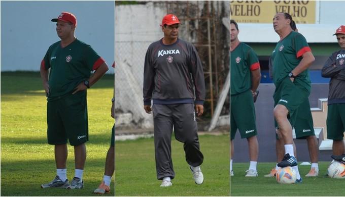 Ney da Matta, Moacir Júnior e Nedo Xavier; Boa Esporte já trocou de técnico duas vezes na Série B (Foto: Régis Melo)