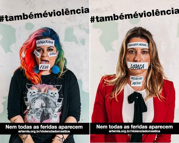 Feministas posam para a campanha #TambémÉViolência (Foto: Camila Cornelsen)