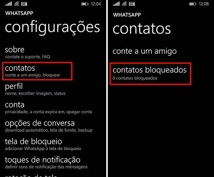 WhatsApp para Windows Phone recebeu atualização que permite bloquear contatos (Foto: Reprodução/Elson de Souza)