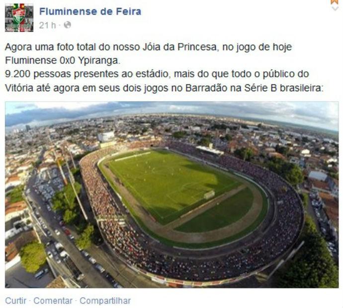 Fluminense de Feira público no Joia da Princesa (Foto: Reprodução / Facebook)