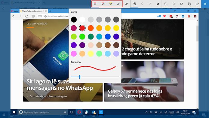 Windows Ink traz ferramentas para desenho em captura de tela (Foto: Reprodução/Elson de Souza)