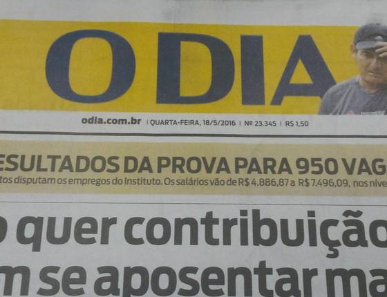 Jornal carioca O Dia (Foto: Reprodução)