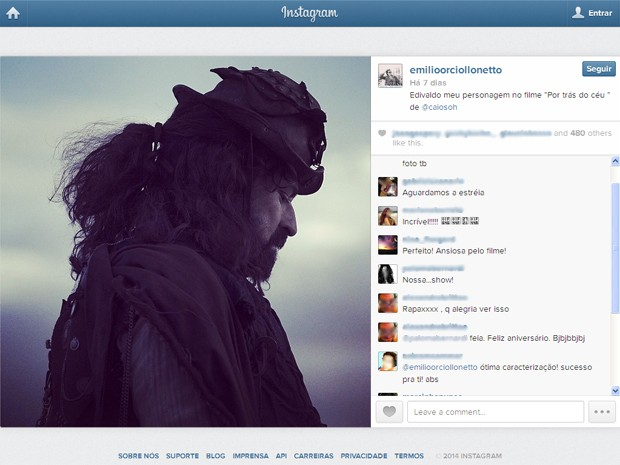 Emílio Orciollo Netto mostra o personagem Edivaldo (Foto: Reprodução/Instagram/@emilioorciollonetto)