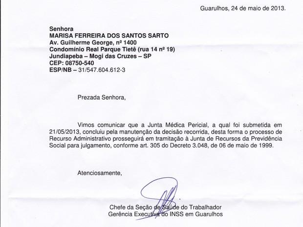 Documento emitido pelo INSS (Foto: Reprodução)