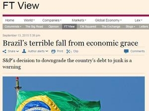 Se o Brasil fosse um paciente, estaria em estado terminal, diz 'FT' (Foto: Reprodução/Financial Times)
