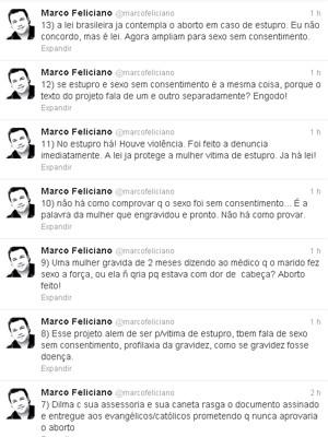 Mensagens de Marco Feliciano no Twitter criticaram também a presidente Dilma Rousseff (Foto: Reprodução/Twitter)