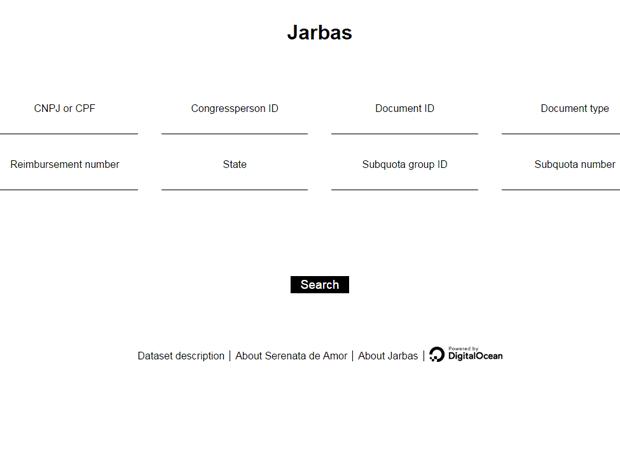 Interface usada para monitorar gastos com verba pessoal de parlamentares (Foto: Reprodução)