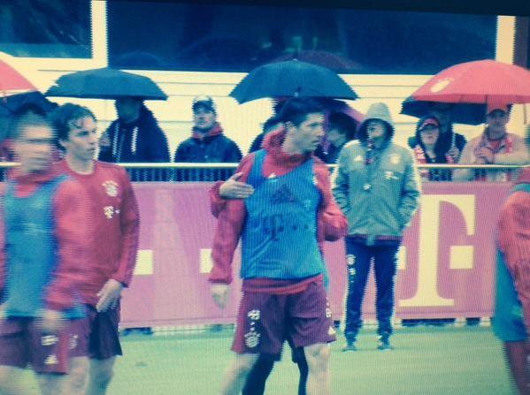 Lewandowski e Boateng - treino Bayern de Munique