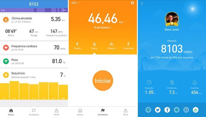 Mi Fit permite que usuário veja gráficos com atividades físicas e também metas (Foto: Reprodução/Elson de Souza)