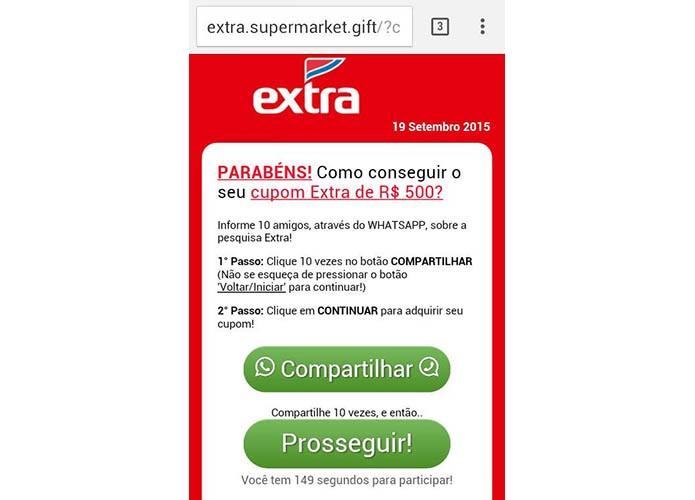 Golpe no WhatsApp usa sites falsos do Extra e do Carrefour para enganar brasileiros (Foto: Divulgação/Kaspersky)