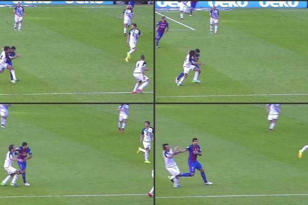 Luis Suárez é flagrado dando um soco no adversário  (Foto: reprodução/instagram)
