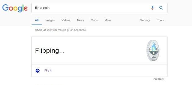 """O Google agora tem a função """"cara ou coroa"""", mas só em inglês (Foto: Reprodução)"""