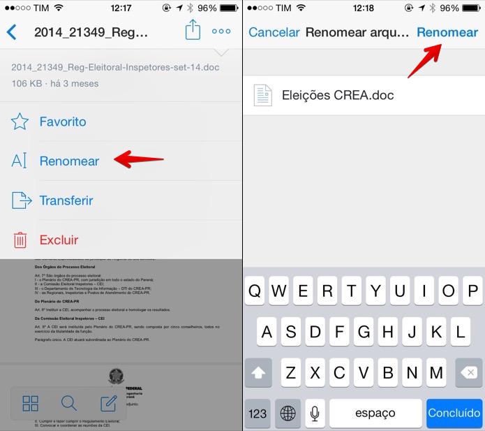 Renomeando arquivo através do app para iOS (Foto: Reprodução/Helito Bijora)
