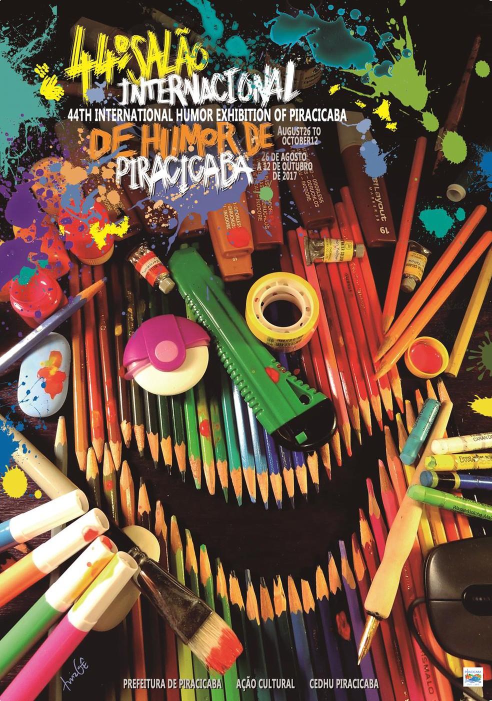 Cartaz oficial da edição de 2017 do Salão Internacional de Humor de Piracicaba (Foto: Divulgação/Prefeitura de Piracicaba)