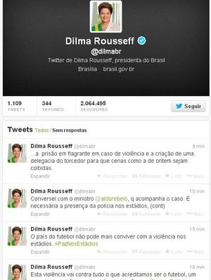 Presidente Dilma Rousseff Fala Sobre Briga Em Estádio No Twitter  - Jogo Atlético-MG (Foto: Reprodução / Twitter)