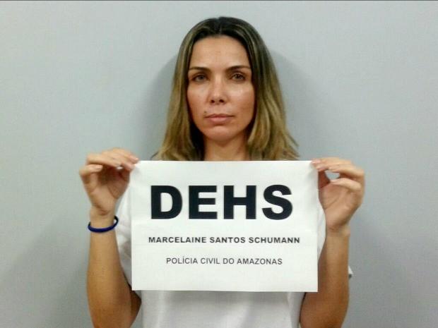 Marcelaine Shumann é suspeita de mandar matar Denise Silva em stacionamento de academia, em novembro de 2014 (Foto: Divulgação/Polícia Civil)