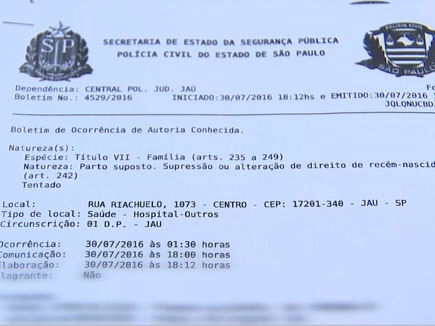Boletim de ocorrência foi registrado como crime de parto suposto ou alheio  (Foto: Reprodução / TV TEM)