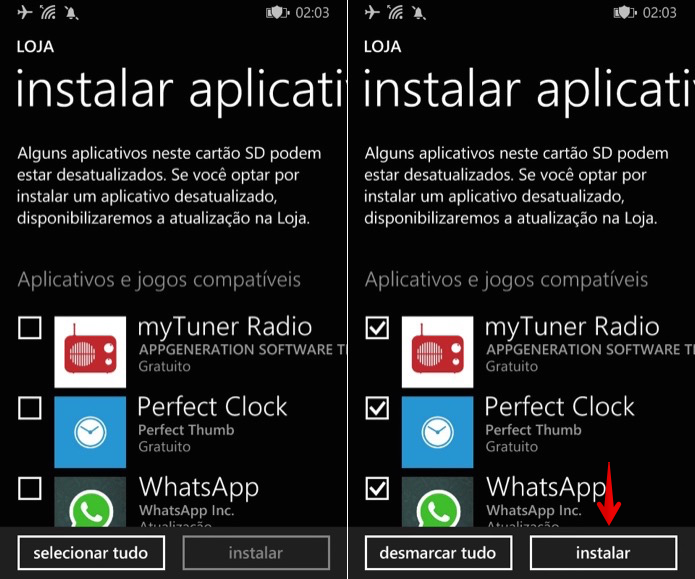 Instalando aplicativos do cartão SD (Foto: Reprodução/Helito Bijora)