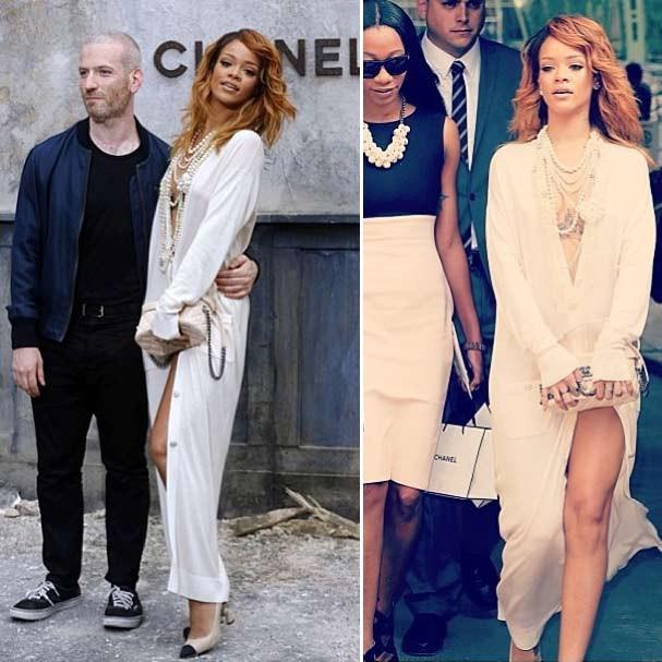 Rihanna fazendo a diva ao lado do stylist Mel Ottenberg e na saída do evento (Foto: Reprodução/Instagram)