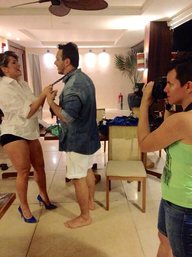Fani como noivo Leandro Dias (Foto: Brina de Matteo)
