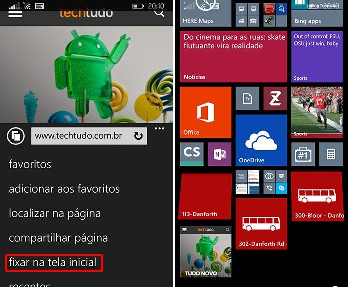 Internet Explorer fixará site na tela inicial do Windows Phone a partir de comando do usuário (Foto: Reprodução/Elson de Souza)