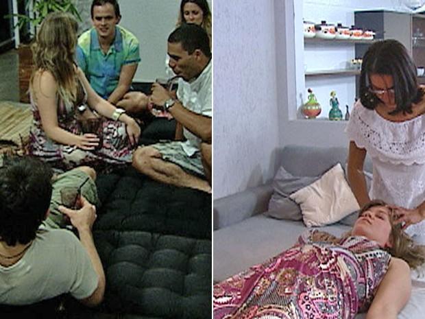 Relaxados no futon, convidados batem papo. E Luciana aproveita a massagem (Foto: Mais Você / TV Globo)