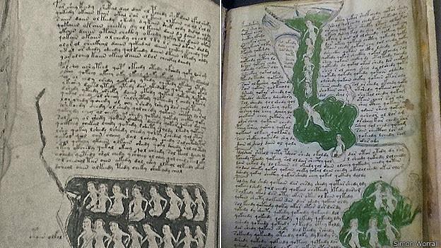 O Manuscrito de Voynich apresenta linguagem e ilustrações indecifráveis (Foto: Simon Worrall)