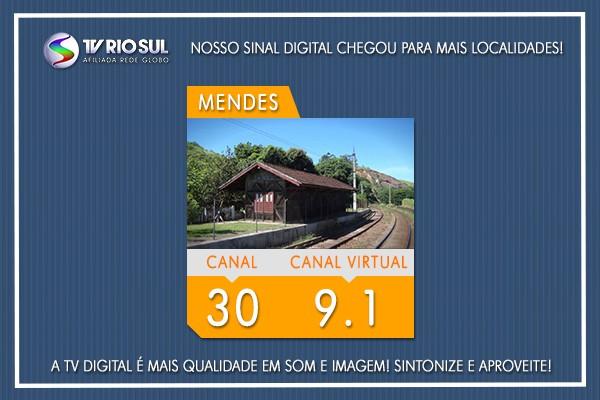 Sinal digital da TV Rio Sul já está disponível em Mendes (Foto: TV Rio Sul)